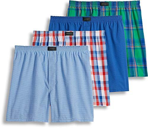 Jockey Men's Active Blend Woven Boxer 4-Pack Bold Plaid/Stripe Blue/Large Check/Stripe Light Blue Medium