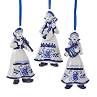 Kurt Adler Delft Blue Girl Ornament Set