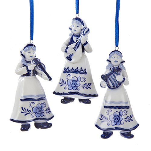 Kurt Adler Delft Blue Girl Christmas Tree Ornament Set