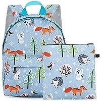 Kid's Lightweight Backpack Animal Kindergarten Bookbag lovely Child School Bag Handbag 2 Pcs for Boys Girls Blue