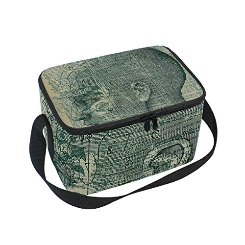 e Bag Phrenology Head Lunchbox Meal Prep Handbag for Picnic School Women Men Kids ()