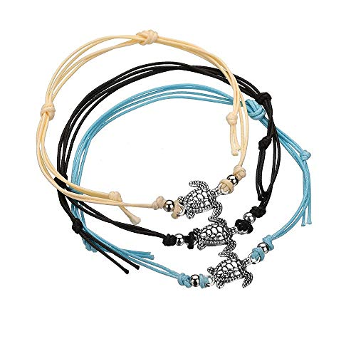 (KAMRESH 3pcs Blue Starfish Turtle Anklets Wax Rope Multilayer Boho Sea Handmade Anklet for Women Girls Foot Jewelry Set)