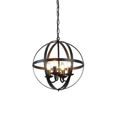 Create for Life 4-Light Modern Rustic Sphere Chandelier,Industrial Vintage Retro Pendant Light, Matte Black Finish