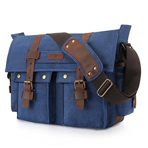 Kattee Canvas Cow Leather DSLR Camera Shoulder Messenger Bag Blue