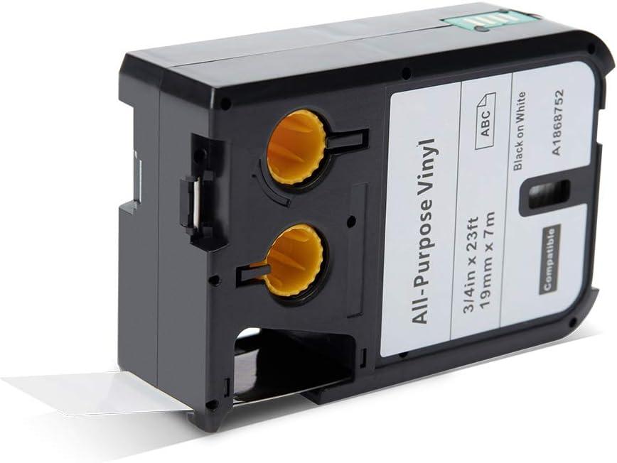 Nastro Aken compatibile in sostituzione di Dymo XTL Etichetta in vinile multiuso per XTL 300 XTL 500 19mm x 7m Noir sur Bianco Dymo XTL All-Purpose Vinyl Label Tape - Black on White 1868752