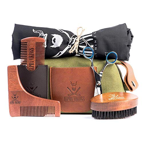 Alpha Vikings Beard Care Grooming Kit for Men. Maple Wood Beard Brush,...