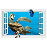 nemo window decals - Wapel 3D Nemo Anime Wall Decals Seabed World Fish Turtle Shark Fake Window Vinyl Stickers For Kids Rooms Decoration Wallpaper Posters5689Cm
