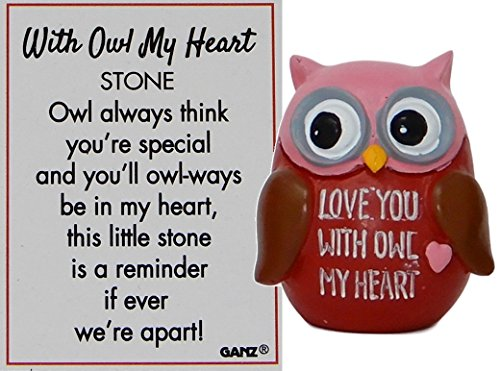 (G Ganz with Owl My Heart Stone Charm with Story Card (Love You with Owl My)