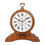 HAOFAY Retro Vintage Mantel/European Yellow Wood Roman Numeral Silent Quartz Clock Desk and Shelf Clock Decoration, Countertop Table Clock