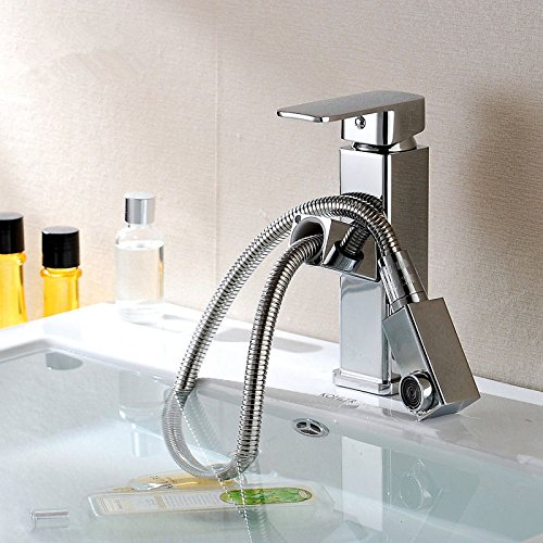LHbox Basin Mixer Tap Bathroom Sink Faucet Basin faucet bathroom full copper double hole hot and cold drawn-down-Round 1.80 Silver