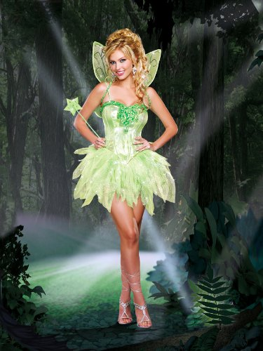 Dreamgirl Women's Fairy-Licious Costume, Green, Large (Womens Tinkerbell Costume)