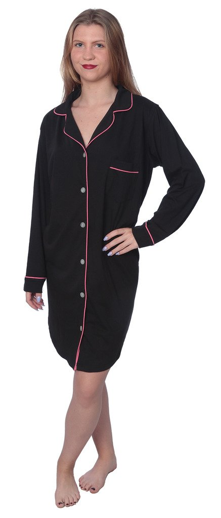 Beverly Rock Women's Soft Jersey Knit Cotton Blend Button Down Sleepshirt Pajama Top with Piping Finish Y18_WPJ01 Black 1X