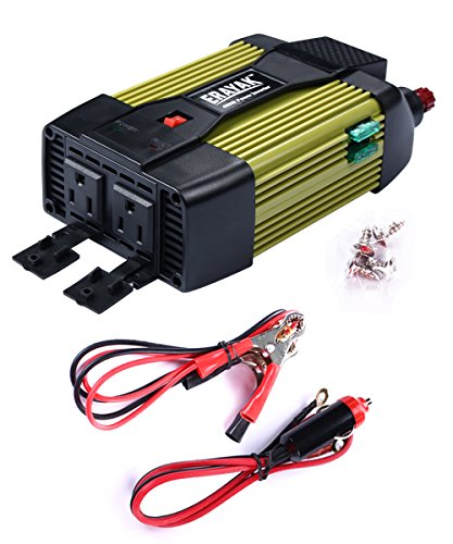 (ETL Approved) ERAYAK 400W Power Inverter Dual US Outlets,2.1A USB Ports w/ Car Cigarette Lighter Cable&Battery Clamps Clips Cable,DC12V to AC110V,for Laptop,Tablet,Game Console,TV,Fan,Cooler-8126U by ERAYAK