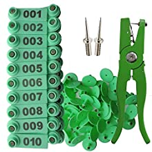 Sheep Ear tag Plier &001-100 Numbered Ear Tags for Goat Pins(Green)