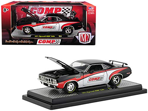Trunk Barracuda Plymouth (1971 Plymouth HEMI Barracuda Comp Cams Black with White and Red Limited Edition to 5,880 Pieces Worldwide 1/24 Diecast Model Car by M2 Machines 40300-71B)