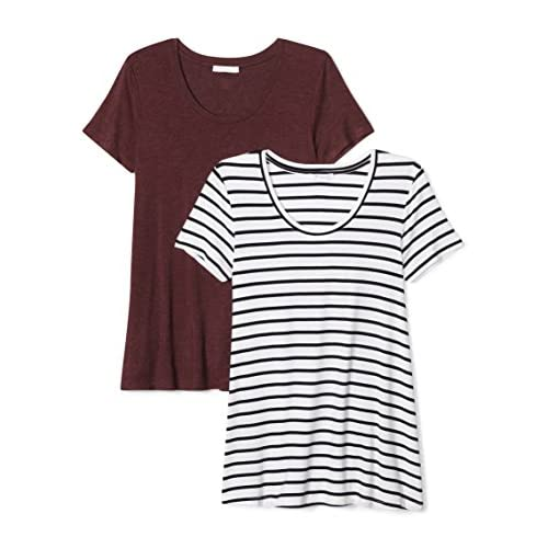 Daily Ritual Women's Jersey Short-Sleeve Scoop Neck Swing T-Shirt, 2-Pack