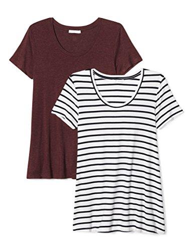 Daily Ritual Women's Jersey Short-Sleeve Scoop Neck Swing T-Shirt, 2-Pack, M, Navy and White Stripe/Heather Purple (Stripe Tee Jersey)