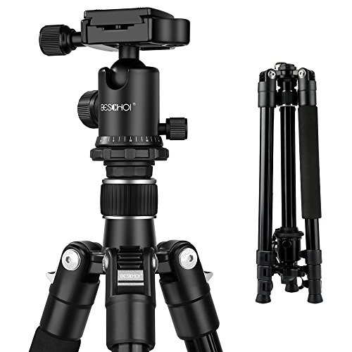 Beschoi 62-Inch DSLR Tripod, Lightweight Compact Aluminum Portable Camera Travel Tripod with Ball Head and Carry Bag for Digital SLR Cameras/Video Cameras/Camcorders