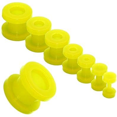 Acrílico Tunnelset Túnel Pendientes Piercing Taper Dilataciones Expansor Dilatador Kit Oreja Ø 2-12mm, Color amarillo: Amazon.es: Joyería