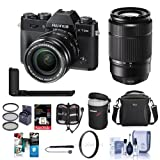 Fujifilm X-T20 24.3MP Mirrorless Camera with XC 16-50mm f/3.5-5.6 OIS II Lens, Black -Bundle XC 50-230mm F4.5-6.7 OIS II Lens Black, Metal Hand Grip and Free Accessory Bundle