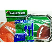 Football Party Supplies! Root for Your Favorite Team! Celebrate Their Success! For 14 Football Fans- Utensils, Plates, Napkins, Tablecover; 4-pc
