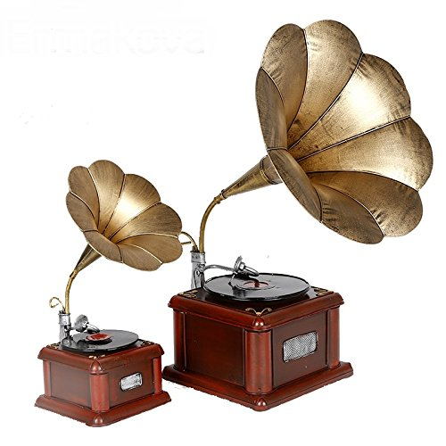 Metal Retro Phonograph Model Vintage Record Player Prop Antique Gramophone Model Home Office Club Bar Decor Ornaments ( Size : L h43cm ) by Supper PP