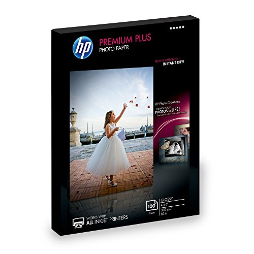 HP Photo Paper Premium Plus, Glossy, (4x6 inch), 100 sheets 4x6 Glossy Photo Paper