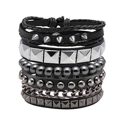 Eigso 4 Pcs Punk Leather Bracelet Hematite Black for Men Women Adjustable Spike Metal Cuff Bangle