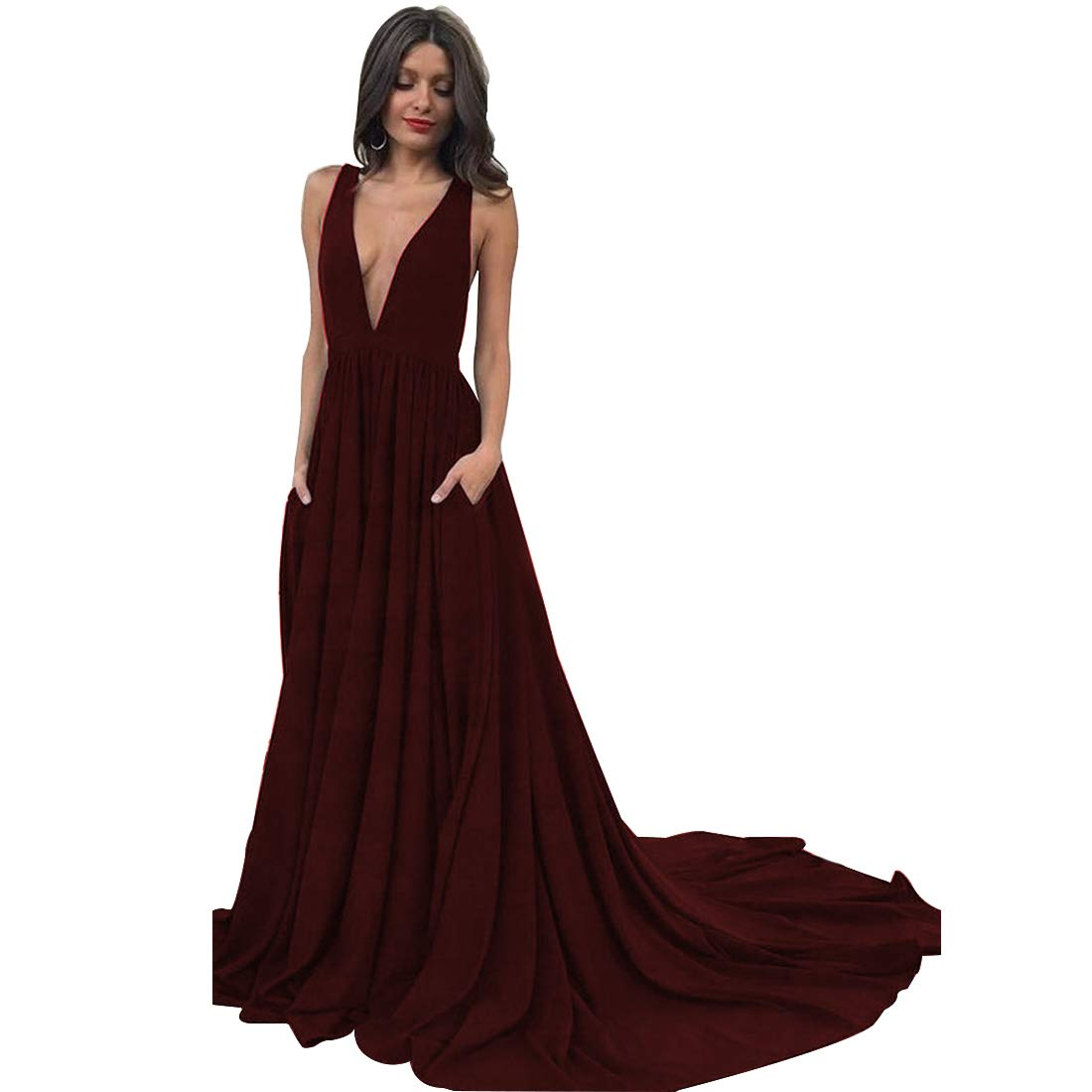 Dexinyuan Deep V Neck Satin Long Prom Dresses Backless Sweep Train Formal  Party Dresses with Pockets at Amazon Women s Clothing store  67e5404a8
