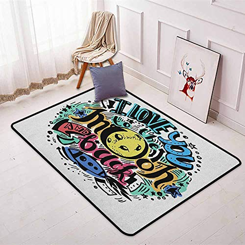 I Love You Multifunctional Round Carpet Grunge Valentines Colorful Composition Rocket Figure Declaration of Love Phrase for Bedroom Modern Home Decor W47.2 x L63 Inch Multicolor