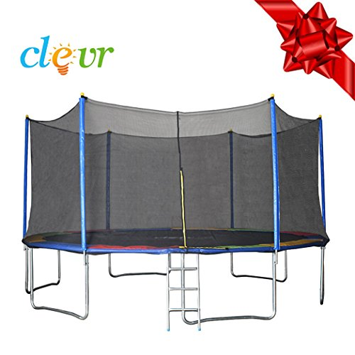 Clevr 15 ft Trampoline with Safety Enclosure Net & Spring Pad, Outdoor Round Bounce Jumper 15'