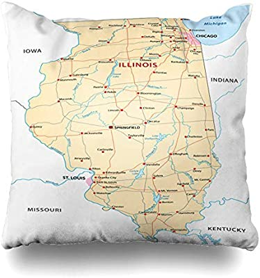 Amazon.com: DIYCow Throw Pillows Covers Louis Illinois Map Chicago ...