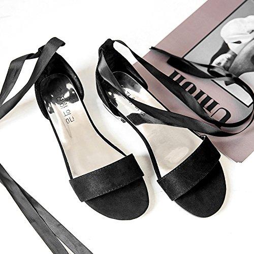 RUGAI-UE Sandalias de verano para estudiantes de amarre plana zapatos de moda Black