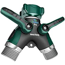 2wayz All Metal Body Garden Hose Splitter. Newly Upgraded (2017): 100% Secured, Bolted & Threaded. Easy Grip, Smooth Long Handles y Valve. Bonus Included: 10 Washers.