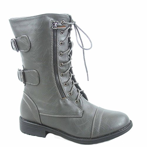 - Top Moda Pack-72 Women's Fashion Mid Calf Low Heel Combat Military Zipper Lace Up Shoes (11, Grey)