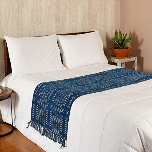 (HANDICRAFT-PALACE Indian Block Printed Cotton Bed Runner Room Decor Table Runner with Decorative Fringe for Spring Summer Family Dinners Outdoor Parties Everyday Use Throw (Indigo Blue Arrow))