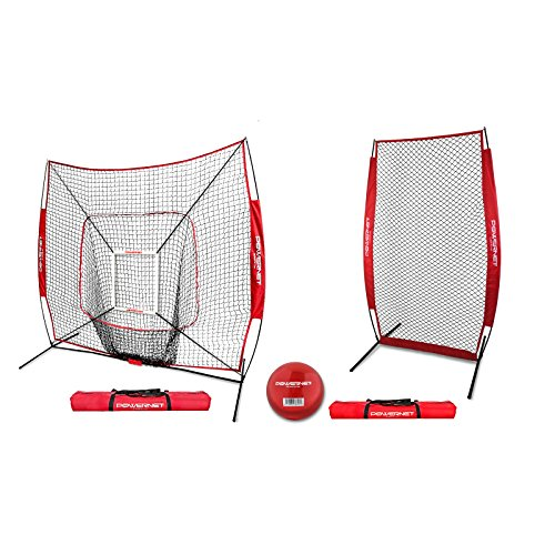 PowerNet 7x7 DLX Net and Portable Pitching I-Screen Bundle (Red) | Softball Pitching Protection | Batting Practice Backstop | Instant Pitcher Barrier from Line Drives Grounders | Front Toss ()