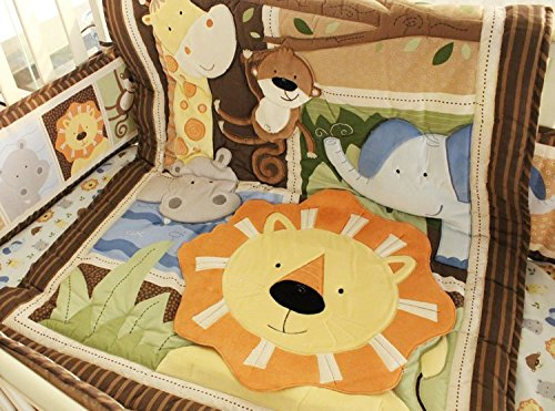 NAUGHTYBOSS Baby Bedding Set Cotton 3D Embroidery Africa Lion Pattern Quilt Bumper Bed Skirt Mattress Cover 7 Pieces Set Multicolor by NAUGHTYBOSS (Image #2)