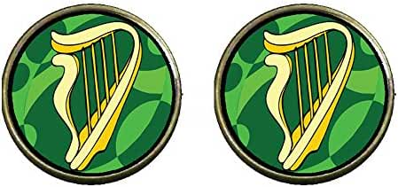 GiftJewelryShop Bronze Retro Style St. Patrick's Day Theme Photo Clip On Earrings #16 With A Celtic Harp