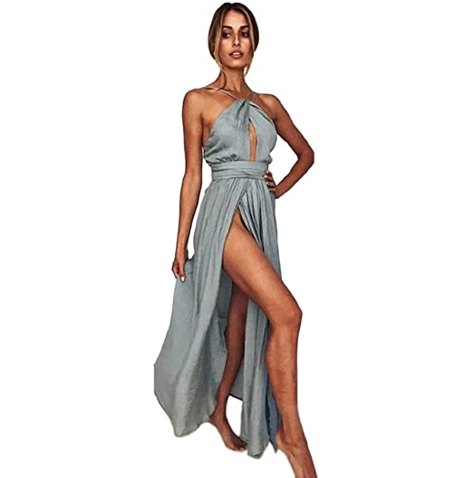 4a2ee690341e Women's Beach Party Maxi Dress Boho Halter Spaghetti Strap Lace Up Sundress  JHKUNO Gray