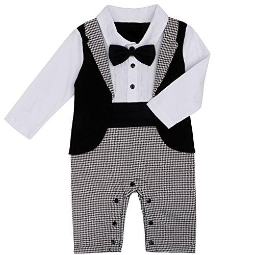 Amazon.com: iEFiEL Baby Boys 1Pc Bowtie Tuxedo Wedding Romper Formal Suit: Clothing