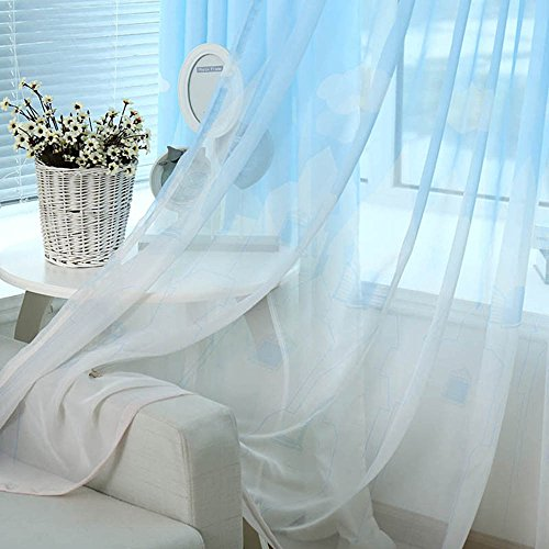 pureaqu Elegant Castle Printed Window Treatment Panels Rod Pocket Sheer Curtains For Living Room Voile Drapes Home Decor For Kids/Girls/Nursery Room Bedroom 1 Panel W75 x H96 Inch by pureaqu