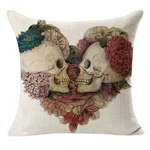 GBSELL Happy Valentine's Day Heart Skull Print Pillow Case Throw Cushion Cover Sofa Home Car Party Decor (Skull)