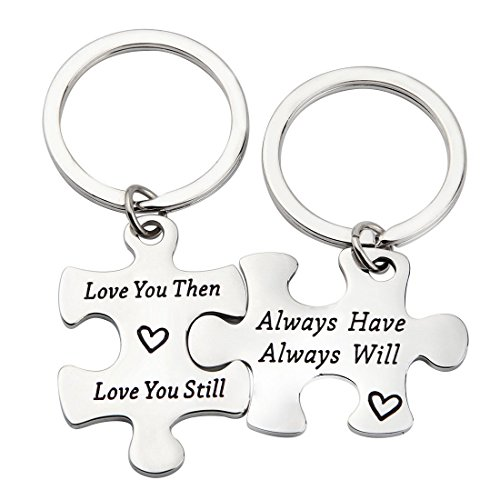 MAOFAED Puzzle Couple Keychain Love You Then Love You Still Gift For Her or Him (Love You Then CP Keychain) (Necklace Key Love)
