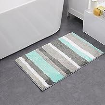 "HEBE Microfiber Soft Bath Mats Bathroom Shower Rugs Entrance Rug Indoor/Outdoors Non-slip Shaggy Area Rugs (18×26"", blue/grey)"