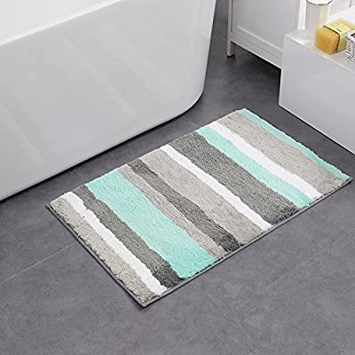 "HEBE Non-Slip Bathroom Rug Mat Shag Microfiber Shower Bath Rug Absorbent Bath Mat for Bathroom Machine Washable(18×26"", Blue/Grey) - [Super Water Absorption]:This bath rug is constructed with 15 mm high shag microfiber, soft fiber pile make it possible to absorb water rapidly. Do not need to bother with the absorption anymore. [Soft Non-skid Rubber Backing]:HEBE bathroom rug non-slip bottom is made of durable TPR material which has a bit heavy weight. This anti-skid backing has practically slip resistance on the floor surface, that it won't slip or slide to keep you more safe and cozy. [Comfortable & Durable Bath Mat]: Unique fiber-locking technique,say goodbye to horrible fibre-dropping!The microfibers are very dense and not easily turn deflated after use, so it can maintain a new look.Every time you step out of the shower or bathtub, you can enjoy superior comfort. - bathroom-linens, bathroom, bath-mats - 511luoPx  L. SS400  -"