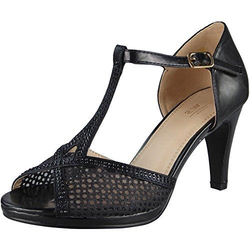 Loud Look Womens Strappy Sandals Heels Ladies Wedding Bridesmaid Bridal Party Shoes Size 3-8 Black N4sFeb