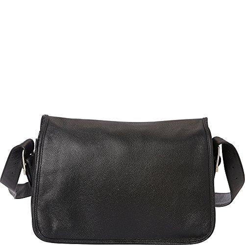 Piel Flap-Over Leather Handbag (Black)