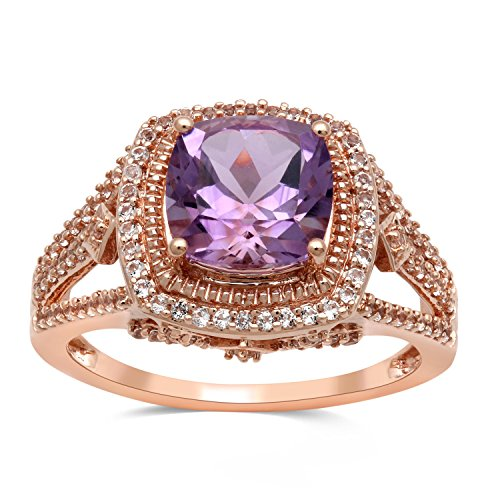Jewelili 10kt Rose Gold 8x8mm Cushion Shape Light Amethyst and Round White Topaz Halo Ring, Size 7