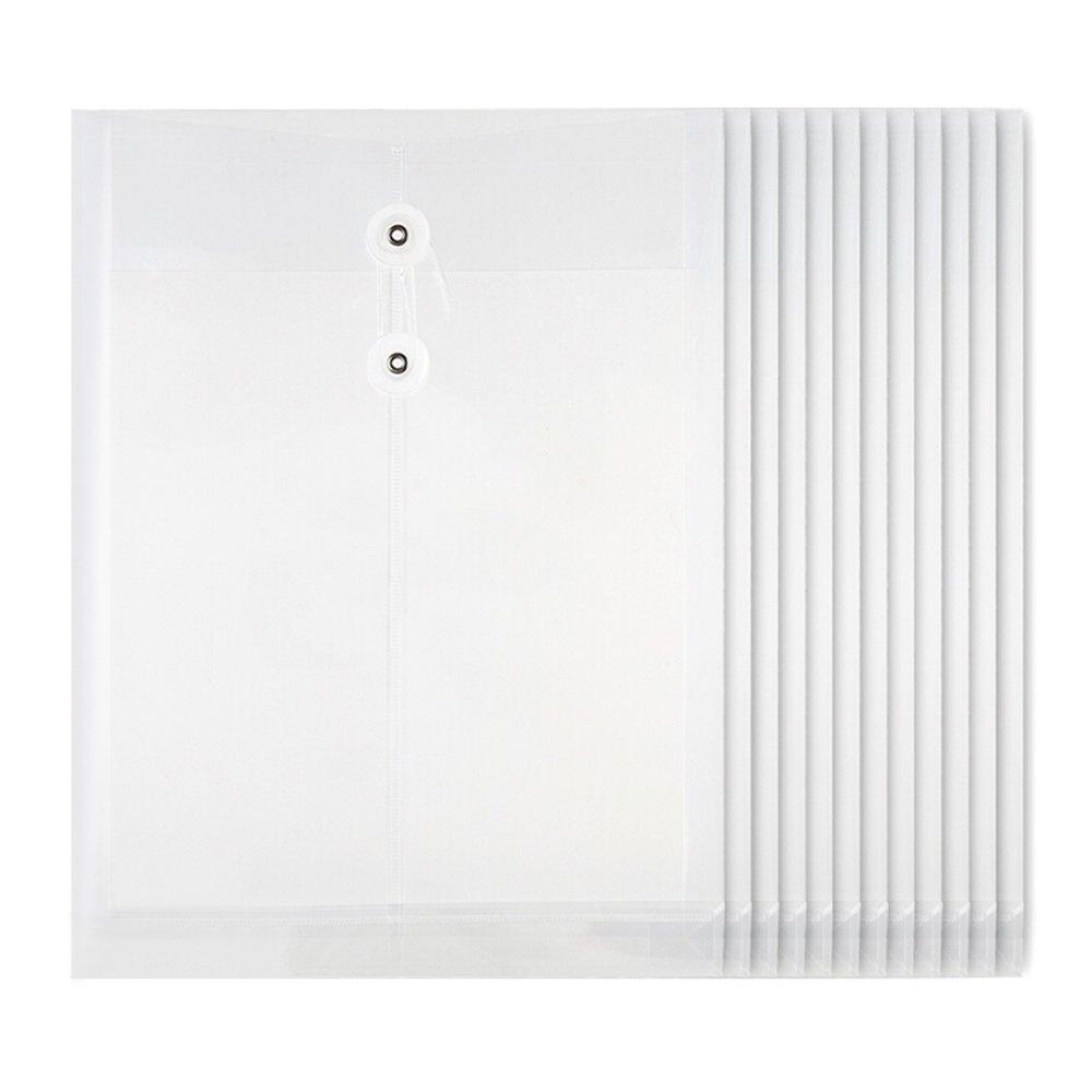 Looneng Clear Transparent Polypropylene Envelope File Folder, 1-1/5 Inch Expansion, String-Tie Closure, 328mm x 251mm, 12 Per Pack